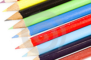 Tips Of Colorful Drawing Pencils Royalty Free Stock Photos - Image: 17829358