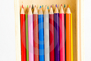 Coloring Pencils In A Wooden Pencil Box Royalty Free Stock Photography - Image: 17829467