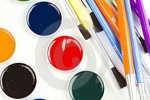 Watercolor Hobby Paint And Brushes Royalty Free Stock Photo - Image: 17829655