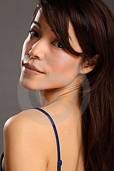Beautiful Japanese Girl Looks Back Over Shoulder Royalty Free Stock Photography - Image: 17830737