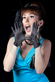 Portrait Of A Beautiful Retro Girl Shouting Royalty Free Stock Images - Image: 17831609