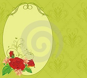 Bouquet Of Roses And Lilies In The Frame Royalty Free Stock Photos - Image: 17837018