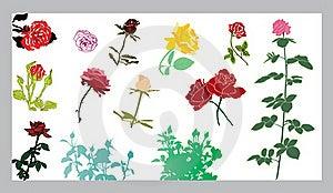 Roses Silhouettes Set Royalty Free Stock Image - Image: 17837646