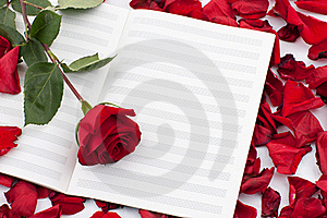 Red Rose On The Note Sheet Royalty Free Stock Photography - Image: 17837647