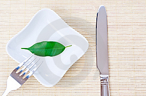 Green Leaf On A Plate As Vegetarian Diet Royalty Free Stock Photography - Image: 17845047