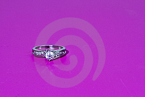 Engagement Ring On Pink Royalty Free Stock Photography - Image: 17845737