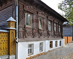 Beautiful Wooden House With Carved Front Royalty Free Stock Photos - Image: 17846658