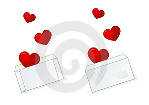 Mailing Envelope In Which There Are 3 Heart Stock Image - Image: 17850411