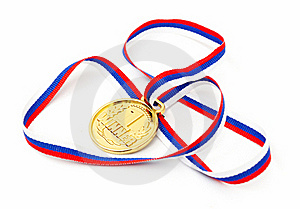 Golden Medal And Ribbon Stock Photography - Image: 17850842