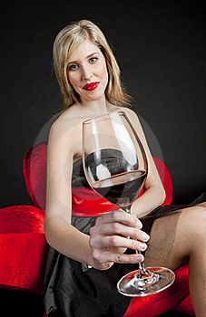 Woman With Red Wine Royalty Free Stock Photography - Image: 17851127