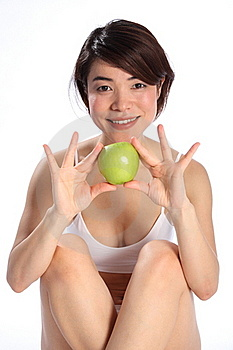 Beautiful Japanese Girl Holding Green Apple Fruit Royalty Free Stock Images - Image: 17851399
