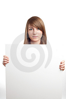 Attractive Woman With Blank Sign. Smiling. Stock Photo - Image: 17852190