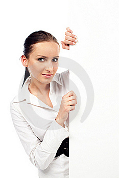 Woman With Billboard Stock Photos - Image: 17852693