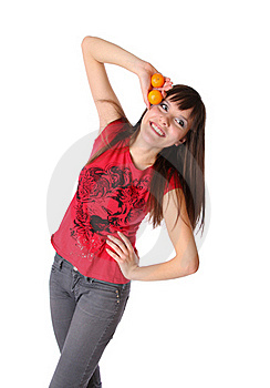 Smiling Girl With Tangerines Stock Photo - Image: 17852810