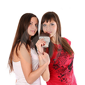 Two Girls With Chocolate Stock Images - Image: 17852814