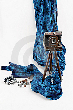 Old Wooden Camera And Scarf Stock Image - Image: 17854401