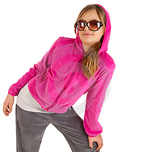 Beautiful Young Girl In Pinky Jacket With Hood And Royalty Free Stock Photo - Image: 17855575