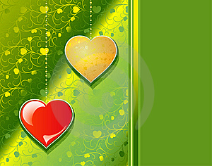 Red And Yellow Hearts On A Green Patten Background Royalty Free Stock Photography - Image: 17856027