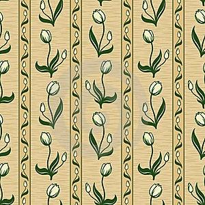 Tulip Line Seamless Background Royalty Free Stock Image - Image: 17856236