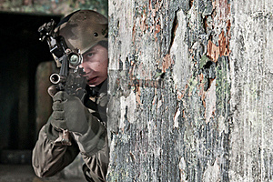 Young Soldier Behind Obstacle Stock Images - Image: 17857964