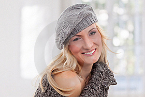 Beauty, Blondie Woman Wear A Grey-colored Hat Royalty Free Stock Images - Image: 17858219