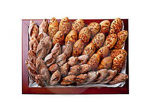 Bakery Products In A Square Basket Royalty Free Stock Images - Image: 17858459