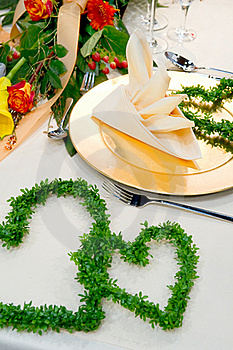 Luxuriously Covered Dining Table Royalty Free Stock Image - Image: 17859296