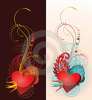Composition Of Heart, Floral Ornament And Martlet. Stock Image - Image: 17859721