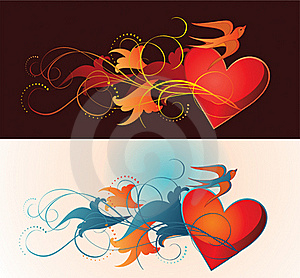 Composition Of Heart, Floral Ornament And Martlet. Stock Photography - Image: 17859752