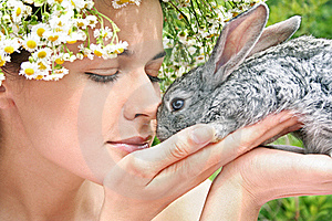Girl With A Rabbit Royalty Free Stock Photography - Image: 17860327