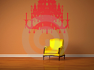 Luxurious Chair With Silhouette Of Chandelier Stock Photos - Image: 17865623