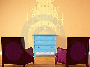 Two Chairs Opposite Wooden Bedside Stock Photo - Image: 17865990