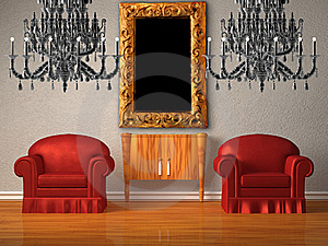 Two Chairs With Wooden Console And Two Chandeliers Stock Photography - Image: 17866242
