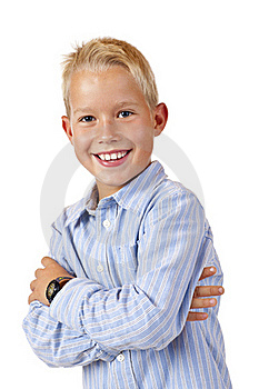 Portrait Of Young Smiling Boy With Crossed Arms Stock Photos - Image: 17866573