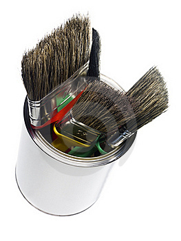 Paint Can With Brushes Stock Photo - Image: 17867250