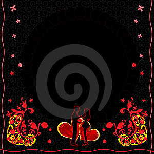 Ornate Flower Cartd With Hearts And Couple Stock Photo - Image: 17867820