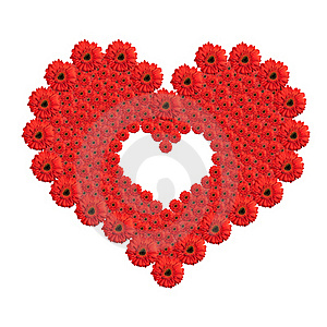 Heart From Red Gerbera Flowers Royalty Free Stock Photography - Image: 17871277