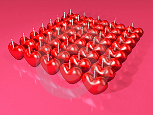 Event 3d Red Heart Candle Array Stock Images - Image: 17871984