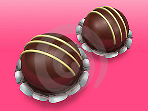 Two Decorated Chocolate On Pink Background Royalty Free Stock Photos - Image: 17871998