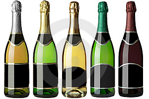 Set 5 Bottles With Black Labels Royalty Free Stock Photography - Image: 17872947