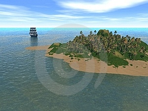 Fantastic Island  With Ship Stock Photos - Image: 17877873