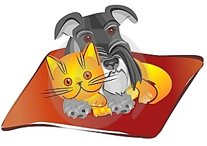 Vector Miniature Schnauzer Dog And British Cat Stock Photos - Image: 17881663