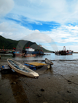 Rowing Boat And Fishing Ships Royalty Free Stock Photography - Image: 17882257