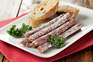 Small Salamis On A Plate Stock Image - Image: 17886121