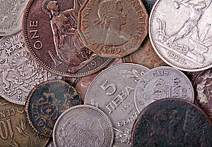 Copper And Silver Old Coins Background Stock Photos - Image: 17887153