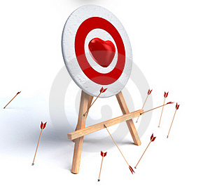 Red Heart And Target On White Royalty Free Stock Images - Image: 17889589