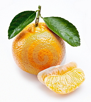 Image Of A Ripe Tangerine With Leaves On White Stock Photo - Image: 17889840