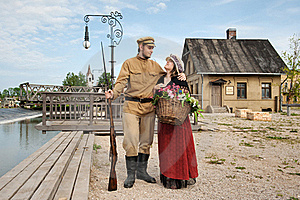 Couple Of Lady And Soldier In Retro Style Picture Stock Photos - Image: 17891953
