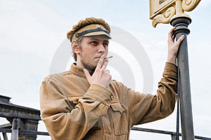 Retro Style Picture With Smoking Soldier. Stock Photo - Image: 17893080