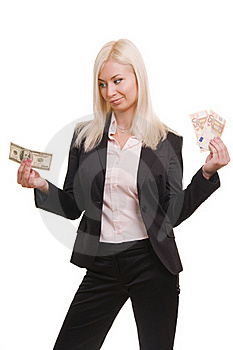 Usiness Woman Holding Euro And Dollars Stock Images - Image: 17897804